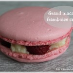 Grand macaron spécial maman : framboise et crème diplomate (fête des mères)